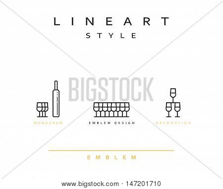 Wine glass icon style line art. Vintage glass icon. Monogram emblem for restaurant design style lineart