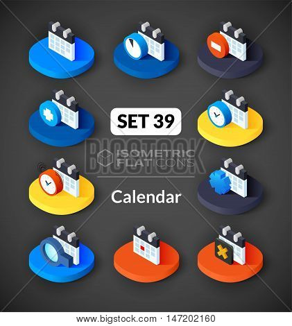 Isometric flat icons, 3D pictograms vector set 39 - Calendar symbol collection