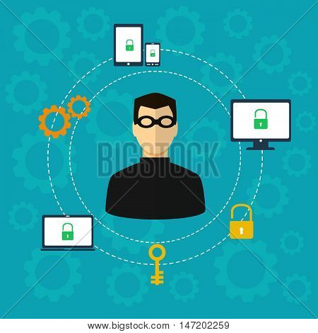 Protection against hacker concept. Vector illustration. Stock vector. Vector illustration.