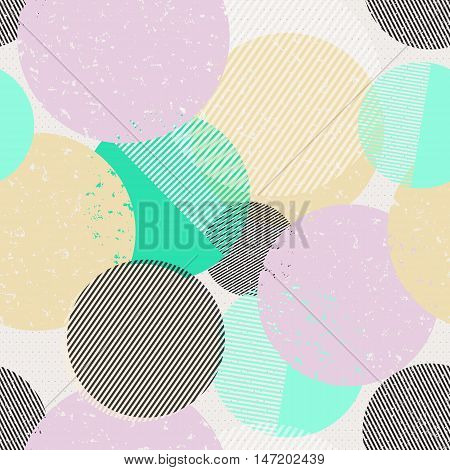 Retro background. Chaotic art. Hipster wallpaper. Memphis backdrop. Vintage design. Grunge illustration. Graphic decoration. Futuristic pattern. Geometric ornament. Avant garde print. Vector.