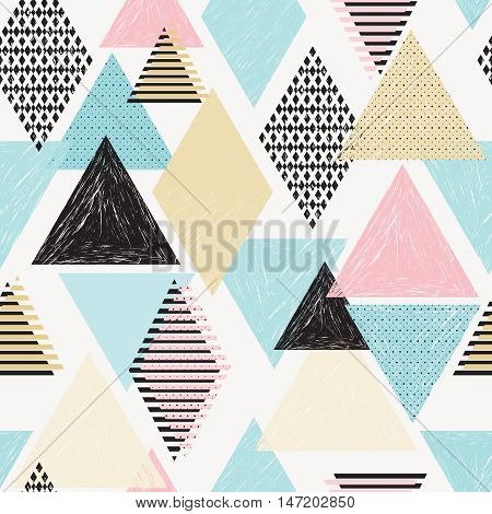Retro print. Chaotic ornament. Hipster pattern. Memphis decoration. Vintage illustration. Grunge design. Graphic backdrop. Futuristic wallpaper. Geometric art. Avant garde background. Vector.