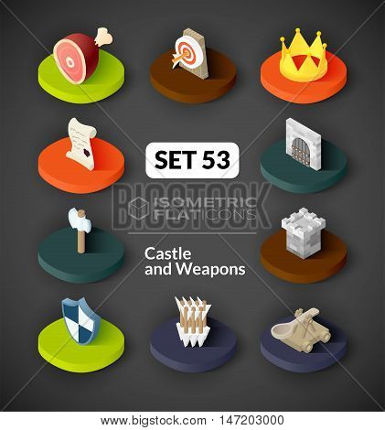 Isometric flat icons, 3D pictograms vector set 53 - Castle and weapons symbol collection