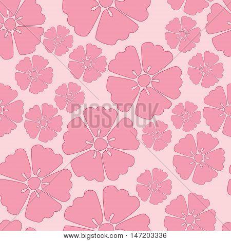 Elegant pink sakura cherry blossom seamless pattern background over pink