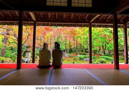 Girls Enjoy Fall Color At Enkoji, Kyoto