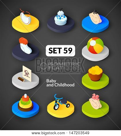 Isometric flat icons, 3D pictograms vector set 59 - Baby and childhood symbol collection