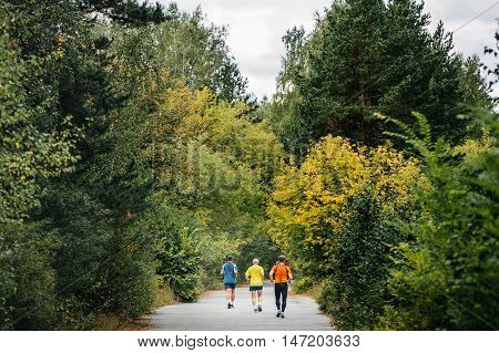 back three runners running in autumn forest during competition marathon