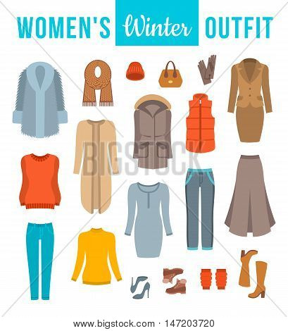 Women winter clothes flat vector icons set. Must have fashion elements of modern urban female outfit, shoes and every day accessories for cold season. Warm clothing wardrobe. Casual style collection