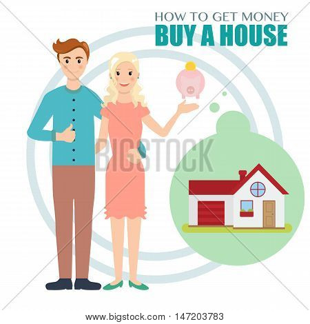 Young family saves money to buy a house. Flat design vector Illustration beautiful couple collect money to buy a house.