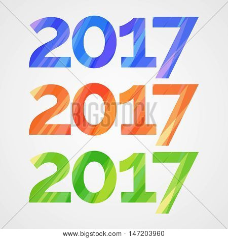 Happy new year 2017 creative greeting card design with colorful stripes. Vector illustration