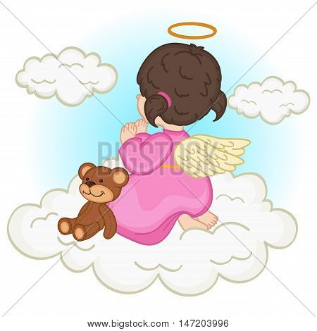 angel baby girl on  cloud - vector illustration, eps