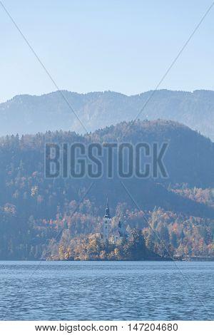 Pilgrimage Church of the Assumption of Maria on island, Bled lake, Slovenia, Europe