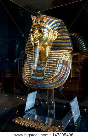 CAIRO, EGYPT - 02 JANUARY 2016 : Tutankhamen's Mask in Egyptian Museum in Cairo. It is main attraction object of the Museum.