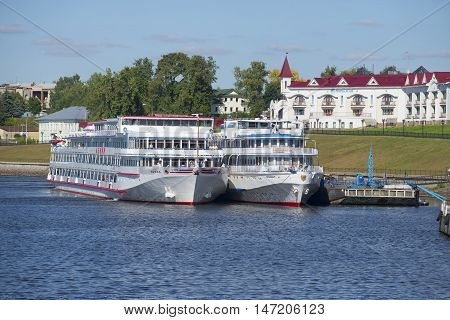 UGLICH, RUSSIA - AUGUST 22, 2015: View on the cruise ships