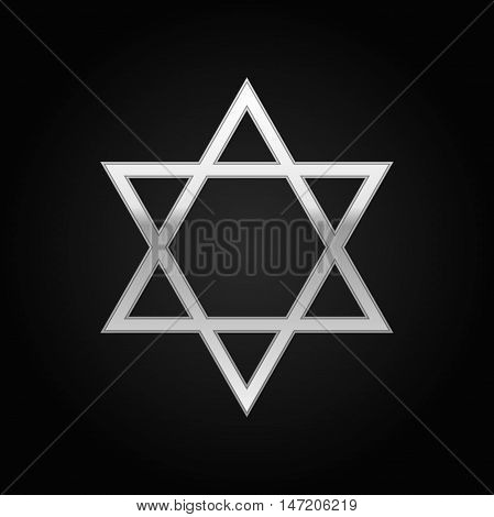 Silver Star of David icon on black background. Vector Illustration
