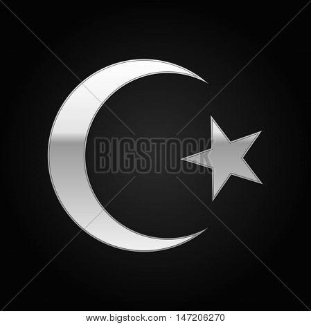 Silver Islam symbol icon on black background. Vector Illustration