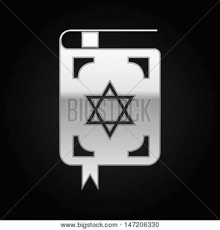 Silver Jewish torah book icon on black background. Vector Illustration