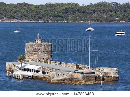 The view of historic Fort Denison on a tiny Pinchgut Island (Sydney, New South Wales).