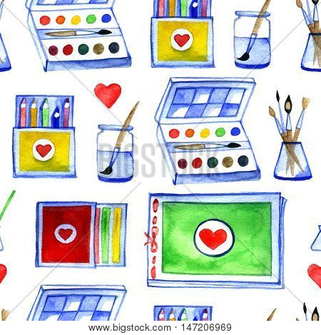 watercolor seamless background with drawing materials, pattern