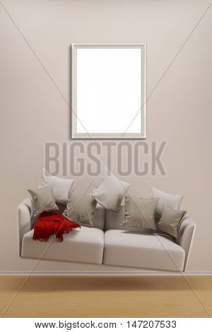 Empty frame on wall over hoovering sofa in living room (3D Rendering)