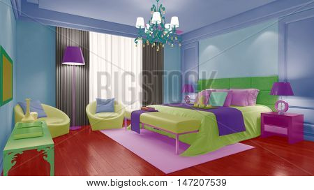 Colorful hotel room with bed in modern hotel (3D Rendering)