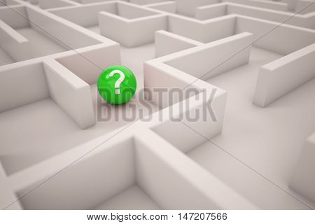 Question mark on ball in a white maze (3D Rendering)