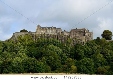 Spectacular view of Castle Hill and Stirling Castle in Scotland.