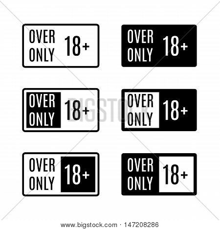 Set of black rectangular icons over only signs age limit isolated on white background vector illustration.
