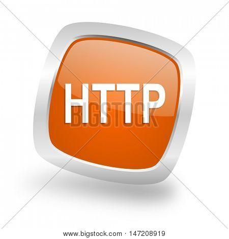 http square glossy orange chrome silver metallic web icon