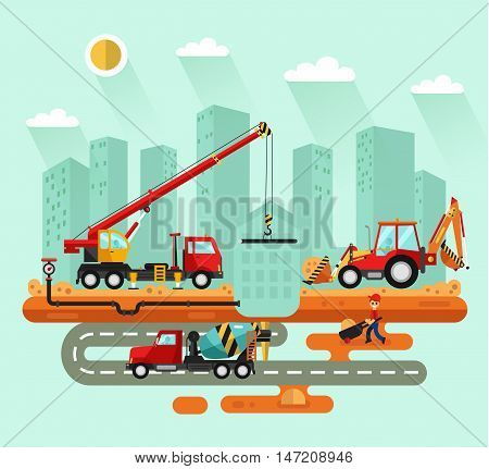 Flat design vector landscape illustration of construction process in the city. Truck crane and bulldozer laying of the pipes, concrete mixer on the road, worker with trolley. Industrial landscape.