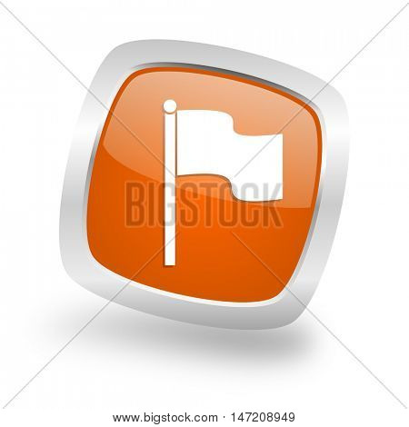 flag square glossy orange chrome silver metallic web icon