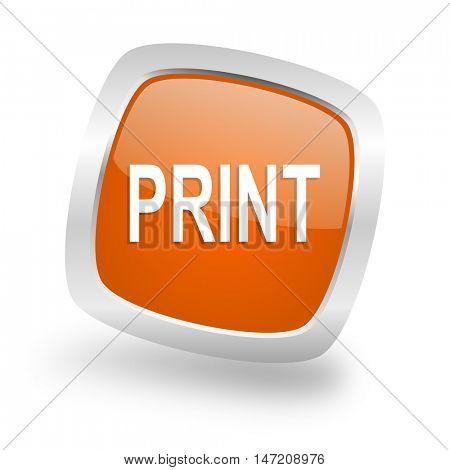 print square glossy orange chrome silver metallic web icon