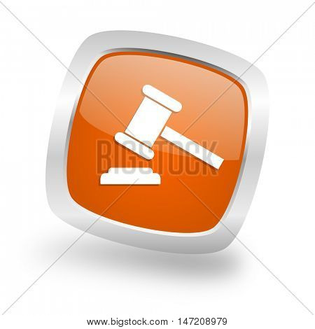 auction square glossy orange chrome silver metallic web icon