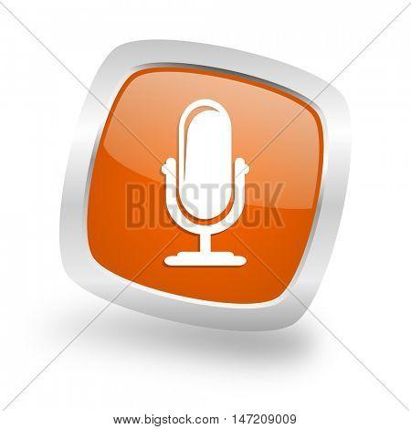 microphone square glossy orange chrome silver metallic web icon