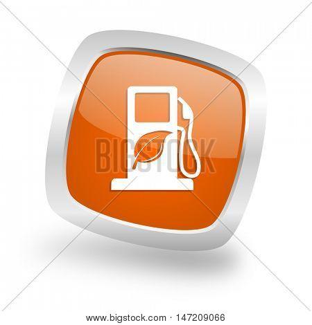 biofuel square glossy orange chrome silver metallic web icon