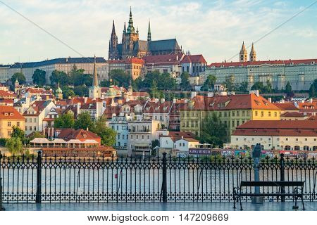PRAGUE,CZECH REPUBLIC- SEPTEMBER 13, 2015: View of Prague Castle and Charles Bridge-famous historic bridge that crosses the Vltava river in Prague, Czech Republic.