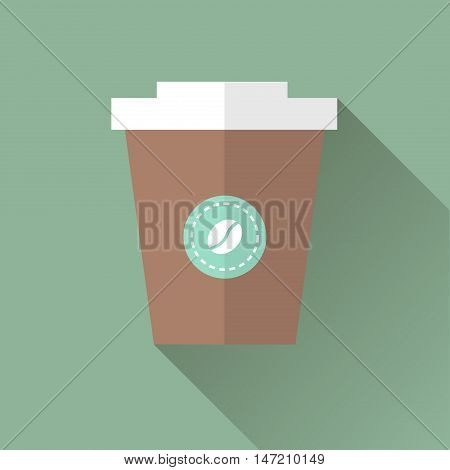 Vector illustration flat icon of Coffee in takeaway cup