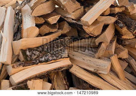 large pile of wood for the furnace
