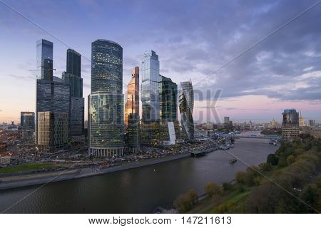 MOSCOW - OCT 06, 2015: Moscow International Business Center at summer. Investments in Moscow International Business Center was approximately 12 billion dollars