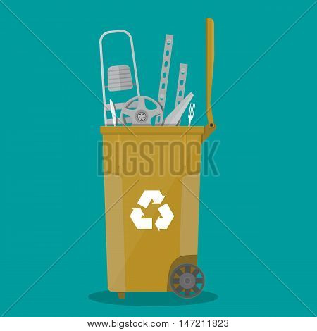trash recycle bin container for garbage full of metal and steel things. Bin for metal. Vector illustration in flat design