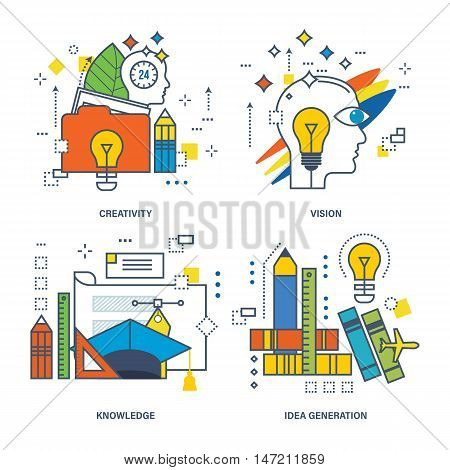 Concept of creativity, vision, knowledge, idea generation. Color Line icons collection