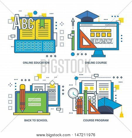 Concept of course program, online education, back to school. Color Line icons collection.