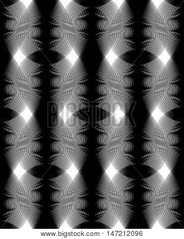 Vector monochrome stripy illusive endless pattern art continuous geometric background with graphic lines and overlapping geometric figures.