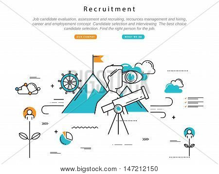 Line flat vector business design and infographic elements for job candidate evaluation, interviewing, assessment, recruiting, resources and corporate management, hiring, employment, career concept