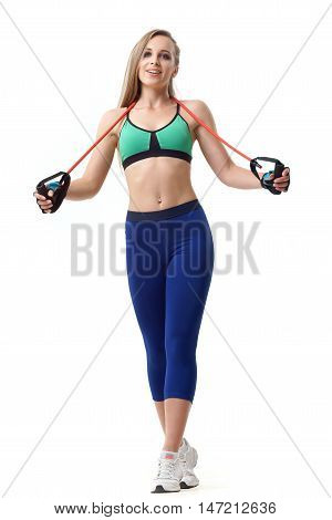 Woman Trainer Working Out With Fit Tube Isolated On White