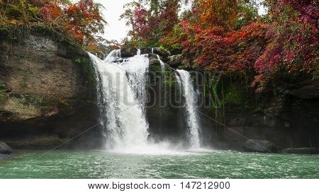 Beautiful waterfall in autumn forest at Haew Suwat Waterfall in Khao Yai National Park Thailand
