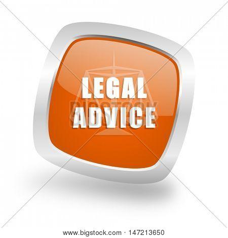 legal advice square glossy orange chrome silver metallic web icon