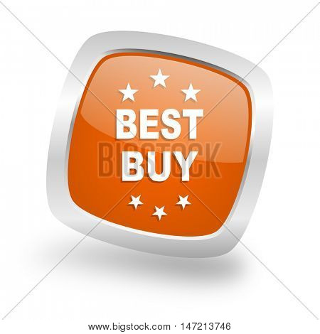 best buy square glossy orange chrome silver metallic web icon