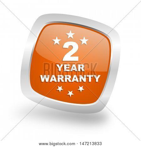 warranty guarantee 2 year square glossy orange chrome silver metallic web icon