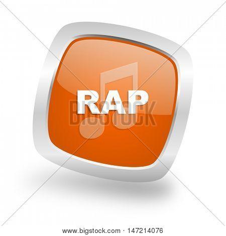rap music square glossy orange chrome silver metallic web icon