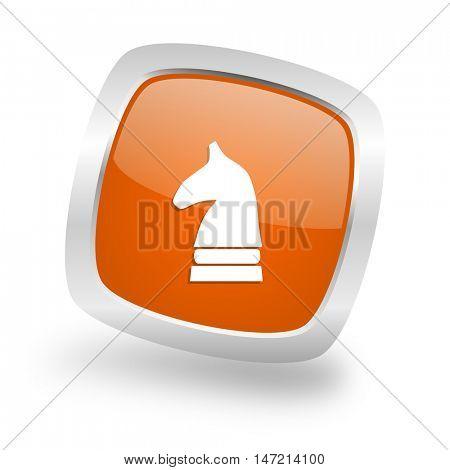 chess horse square glossy orange chrome silver metallic web icon